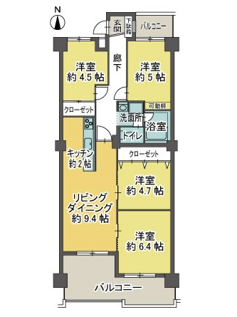 【間取図】中区三井東別院ハイツ3F